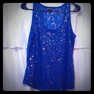 Express sequined lace tank